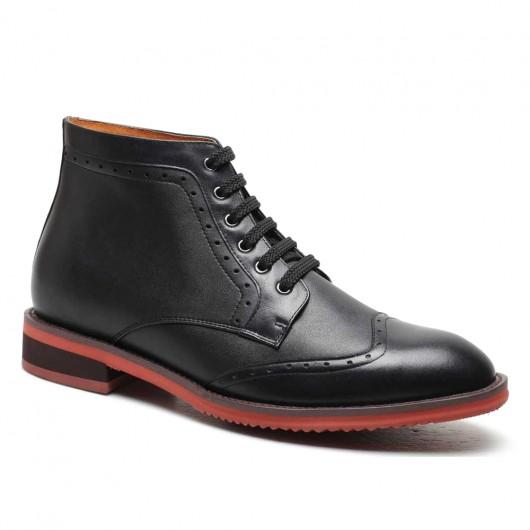 Schwarz Höhe zunehmende Elevate Kleid Stiefel für Herren Schnürschuh Oxford