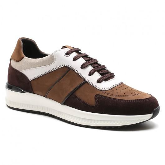 Braun Höherlegungs-Turnschuhe für Männer Sportschuhe, die Sie zu höheren Schuhen für Männer machen 6 cm