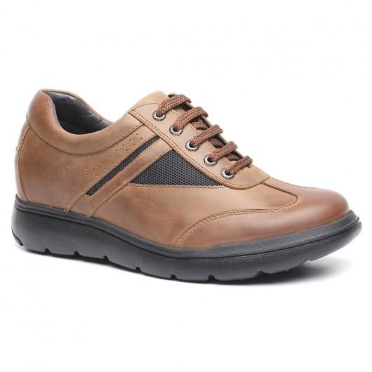 Lässige Höhe erhöhen Schuhe Lift Kits Schuhe Khaki Hohe Plateauschuhe für Männer 8 CM