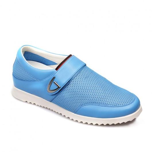 Blau Beiläufige Höhe Zunehmende Schuhe Versteckte Höhe Einlegesohlen Lift-Schuhe für Männer Slip-on Tall Herren Schuhe Blau 5.5cm