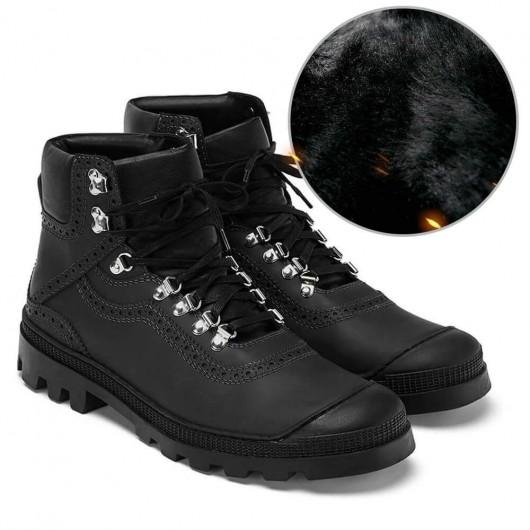 Chamaripa Höhe zunehmende Schuhe versteckte Fersen Schuhe knöchelhohen schwarzen Kalbsleder Wanderschuh für Männer 7CM