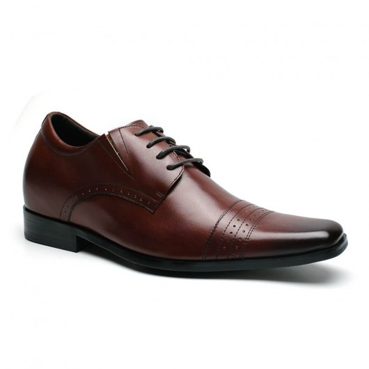 Größe aufsteigend Abendschuhe Braun Leder High Heel Herren Abendschuhe Herren Derby Schuhe 7 CM