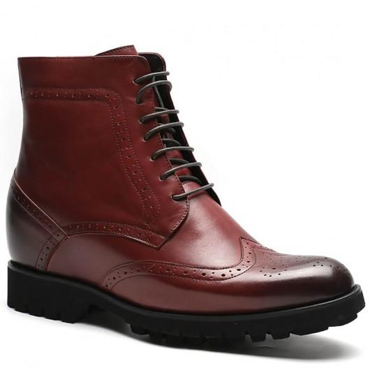 Größe aufsteigend Stiefel Hoch Herren Stiefel Weinrot Handgefertigte Brogue Stiefel 9,5 CM