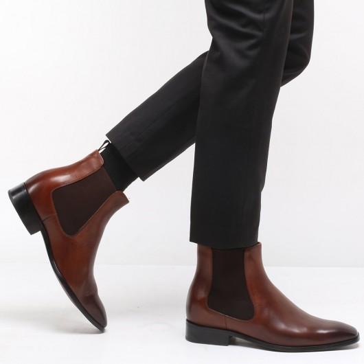 CHAMARIPA Herren Aufzug Schuhe - herren boots mit hohem absatz - Braun Chelsea Stiefel 7CM