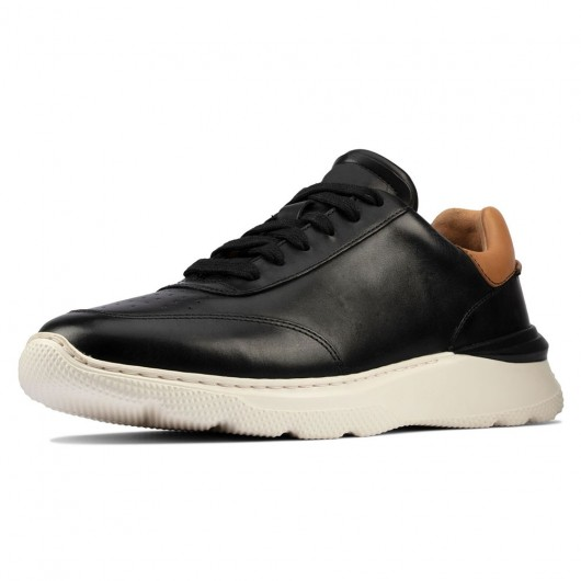 CHAMARIPA schuhe mit erhöhung für männer - aufzugschuhe - schwarz Leder Sneaker Schuhe 7 CM größer