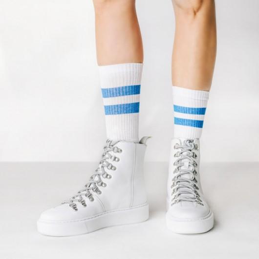 CHAMARIPA schuhe die größer machen - sneaker mit absatz - hohe weiße Lederturnschuhe für Frauen 7 CM größer
