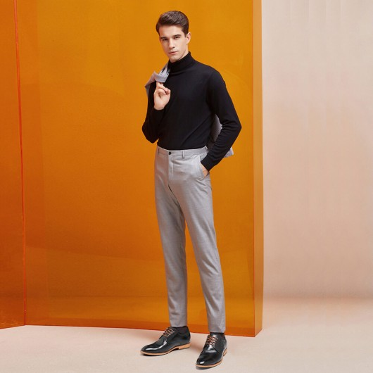 Schwarz Kleiderschuhe, die die Höhe für Männer erhöhen, die die Höhe erhöhen, Schuhe schwarze Leder höhere Schuhe 6 CM