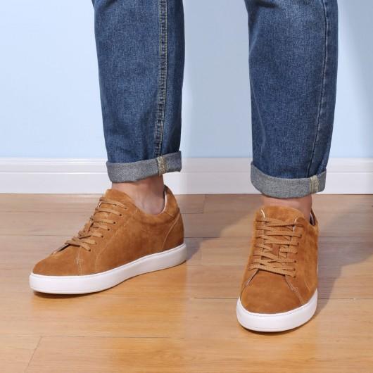 Chamaripa lässig große Männer Schuhe braun Wildleder Leder klassische Höhe zunehmende Turnschuhe 7CM