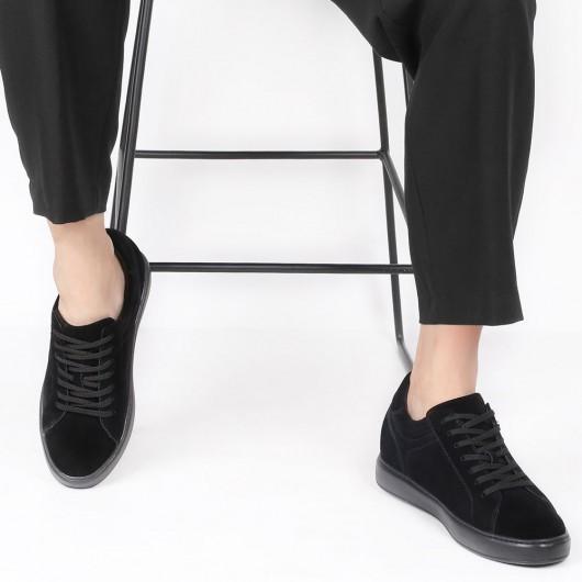 CHAMARIPA hohe absätze für männer - schuhe mit erhöhung für männer - schwarz lässige Schuhe 7 CM größer