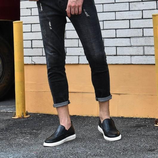Chamaripa höhenerhöhende Schuhe schwarzer Slip auf Freizeitschuhen, die größer als 5 cm sind