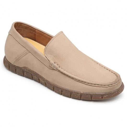 CHAMARIPA Slip on Höhe zunehmende Schuhe Kamel Casual Elevator Schuhe für Männer 6CM
