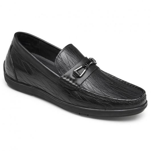 CHAMARIPA höhenerhöhende Slipper für Männer lässig Leder Aufzug Fahrer Schuhe schwarz 6CM