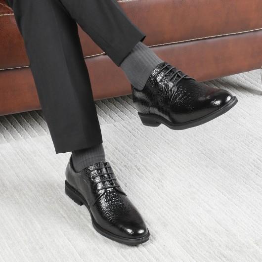 CHAMARIPA herrenschuhe mit hohem absatz - Alligator Textur Leder Derby Schuhe - herren schuhe 5 CM größer