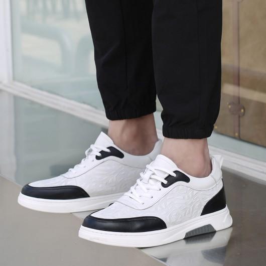 CHAMARIPA herrenschuhe mit hohem absatz - sneaker die größer machen herren - Weiß Leder Sneaker Schuhe 6 CM größer