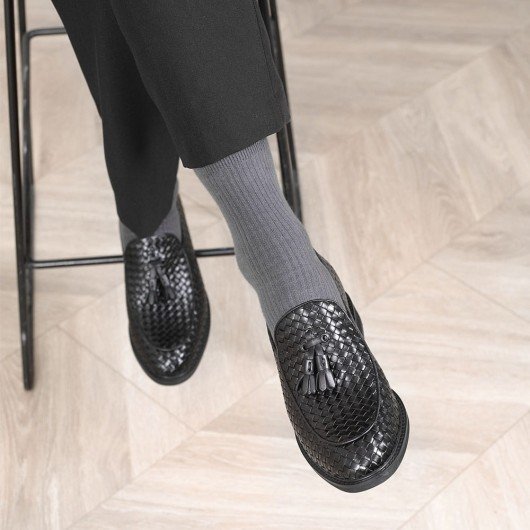 CHAMARIPA schuhe für kleine männer - schuhe mit verstecktem absatz - schwarz gewebtes Leder Müßiggänger 8 CM größer