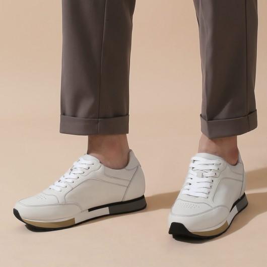 CHAMARIPA hohe schuhe männer - schuhe die größer machen - weiße lässige Sneakers aus Leder 7 CM größer