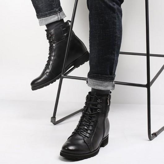 Chamaripa schwarze hohe Männer Stiefel Herren Leder Motorradstiefel Höhe erhöhen Stiefel 8 CM