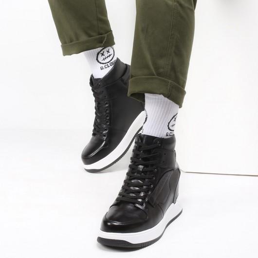 CHAMARIPA Aufzugsschuhe für Männer High Top Lederschuhe schwarz Höhe erhöhen Sneaker 9 CM