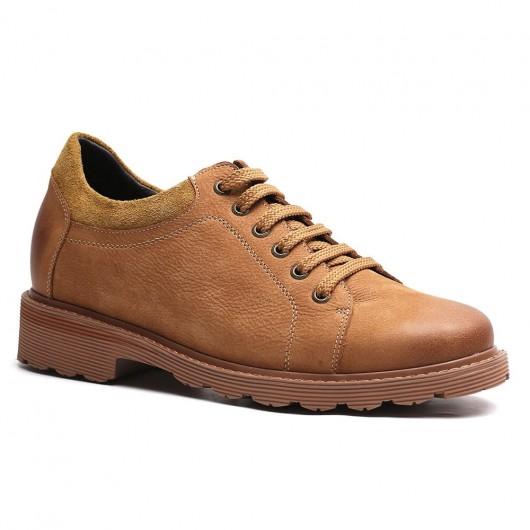 Lässige Schuhe zum Erhöhen der Körpergröße Braun Herren Größere Schuhe Schnürschuhe 7 CM