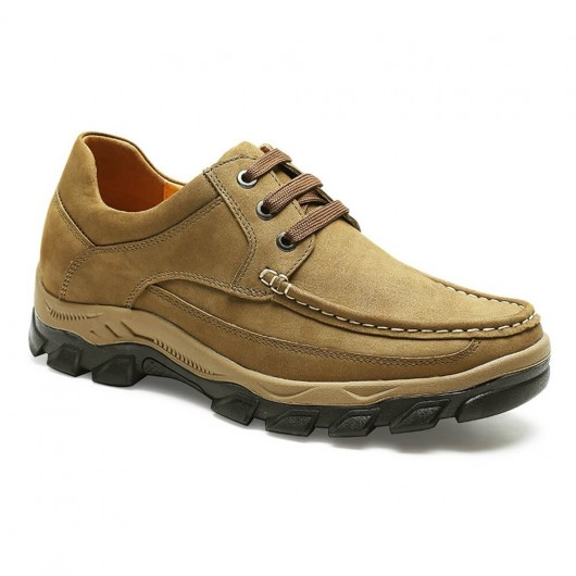 Chamaripa Aufzugsschuhe für Männer lässig große Männer Schuhe Khaki Höhe Schuhe 6 CM