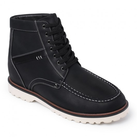 Höhe zunehmende Stiefel groß Männer Stiefel schwarz versteckte Ferse Schuhe für Männer 9 cm