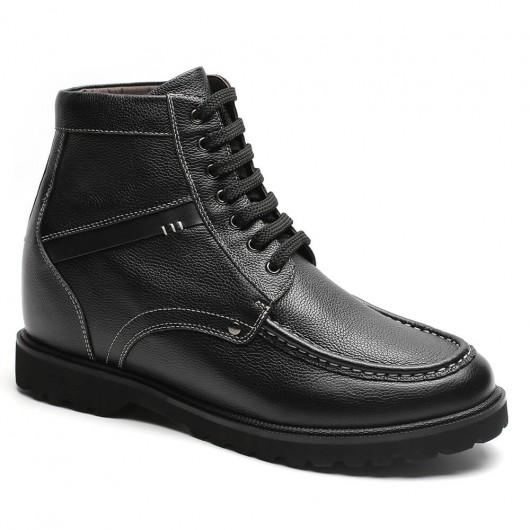 Höher werdende Stiefel Schwarz Höher werdende Schuhe Lässig Hoch Herren Stiefel 9 CM