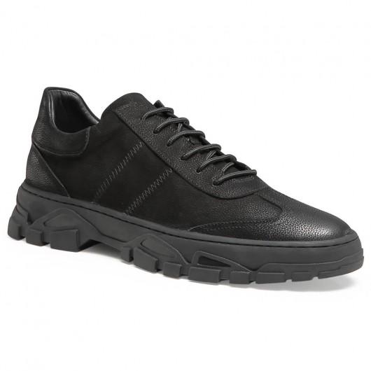 Chamaripa Höhenerhöhende Schuhe Schwarze Freizeitschuhe, die größere Herrenaufzugsschuhe erhalten 6 CM