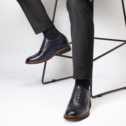 Chamaripa Höhe Erhöhende Schuhe Blaue formelle Herrenaufzugsschuhe Business Brogue-Schuhe 7CM