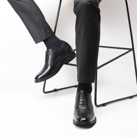 Chamaripa Höhenvergrößernde Abendschuhe Schwarze Brogue-Schuhe Schuhe mit hohen Absätzen für Männer 7 CM / 2,76 Zoll