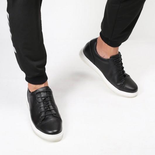 Chamaripa Höhe Erhöhende Schuhe Aufzug Sneaker Schwarz Lässig Sneakers mit versteckten Absätzen 5CM