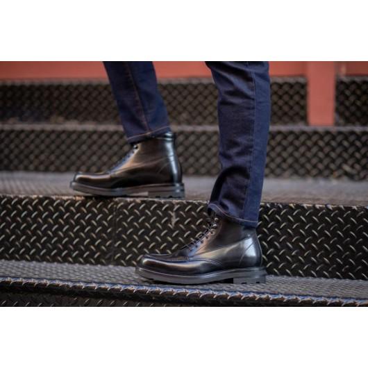 Chamaripa Höhe erhöhen Moc-Toe Stiefel Aufzug Schuhe für Männer schwarz Leder versteckte Ferse Stiefel 9CM / 3,54 Zoll