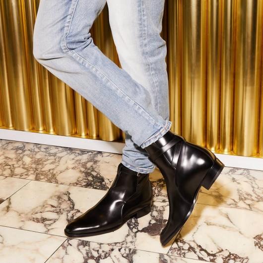 CHAMARIPA extra hochziehende Schuhe heben Vintage schwarze Lederstiefeletten 7 CM