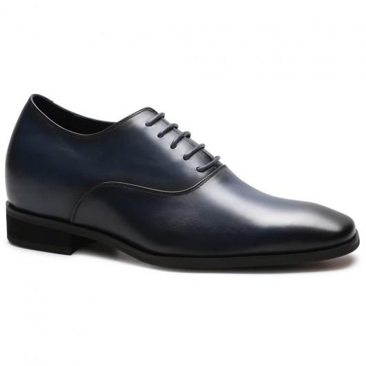Formale Höhe Zunehmende Schuhe Blau High Heel Dress Schuhe für Männer Blau Oxford Schuhe 7 CM