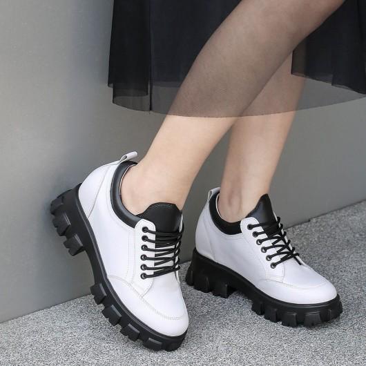 Chamaripa Frauen Plattform Oxfords weiße klobige Oxford Schuhe 10 CM größer