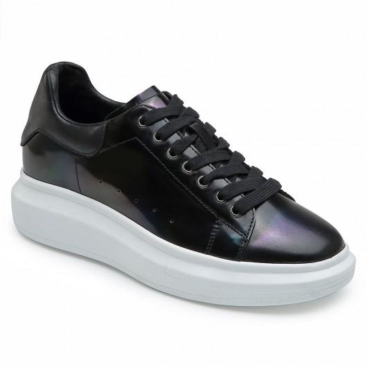 CHAMARIPA Elevator Schuhe für Damen schwarze Keil Turnschuhe Leder Turnschuhe 6 CM höher