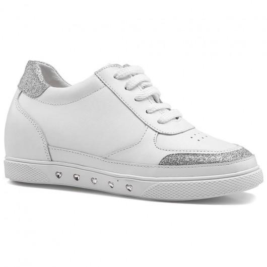 Damen Turnschuhe mit größerer Schuhgröße Weiß Freizeitschuhe mit größerer Schuhgröße 6 cm