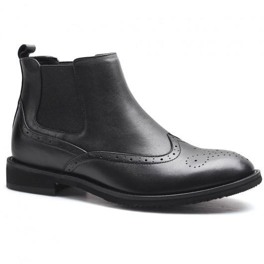 schwarze Chelsea-Stiefel Herren Leder Schuhe die Größer machen 6 CM