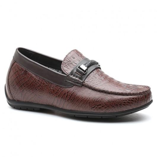 Braun Slip-on Aufzug Loafer Casual Höhe Zunehmende Schuhe für Männer zu höher 6 CM