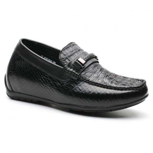 Schwarz Slip-on-Aufzug-Schuh-beiläufige versteckte Ferse-Loafer für Mann-anhebende Schuhe 6 cm