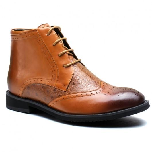 Braun herren stiefeletten mit hohen absätzen männer stiefel mit absatz männer schuhe größer machen