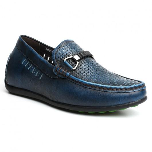 bequeme Höhe erhöhen Schuhe hebt Schuhe Männer blaue Loafers Herren 6cm