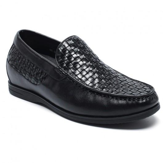 Schwarz Kundenspezifische Aufzug Höhe erhöhen Schuhe für Männer handgemachte Schuhe
