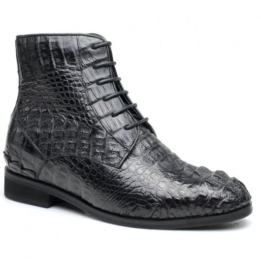 Schwarz Kundengebundene Höhe, die Kleid-Schuhe erhöht, schnüren sich Art-handgemachte Männer-Aufzug-Schuh-hohe Männer-Aufladungen