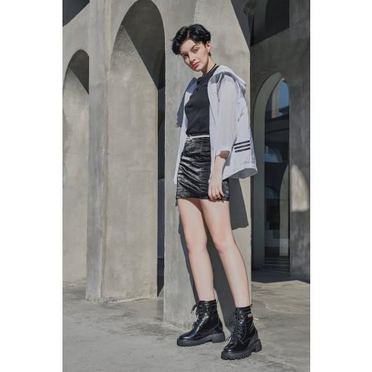 CHAMARIPA Aufzugsstiefel für Frauen schwarze Leder klobige Stiefel 8 CM