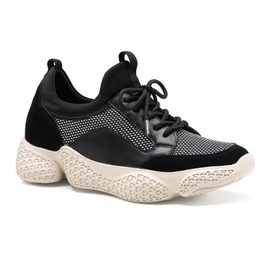 stilvolle höhenerhöhende Schuhe Sneakers für Frauen schwarze Chunky Sneakers 7 CM