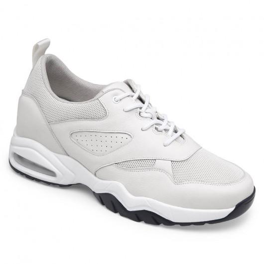 CHAMARIPA Männer erhöhen Turnschuhe Mesh & Lederhöhe erhöhen Schuhe weiße Low-Top-Turnschuhe für Männer 7CM