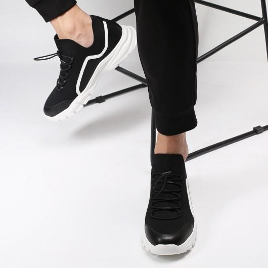 Chamaripa höhenerhöhender Sneaker schwarz gestrickte Laufschuh-Sneaker, die 7CM größer werden