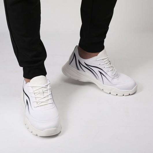 Chamaripa Elevator Sneakers Höhenschuhe für Männer weiße atmungsaktive Strick-Sneakers, die 6CM größer werden