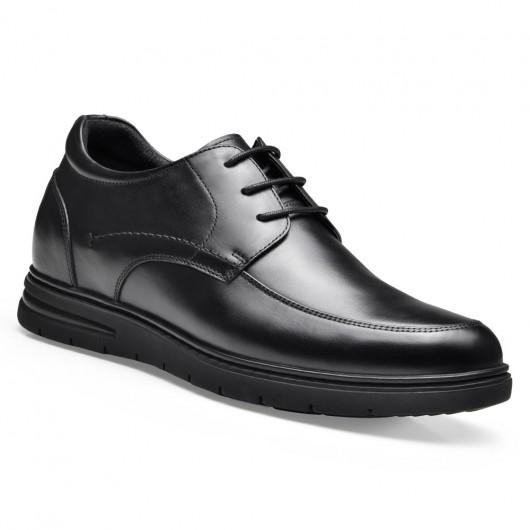 Chamaripa Höhe erhöhen Schuhe für Männer schwarze Leder Business-Schuhe, um größer 7CM zu werden
