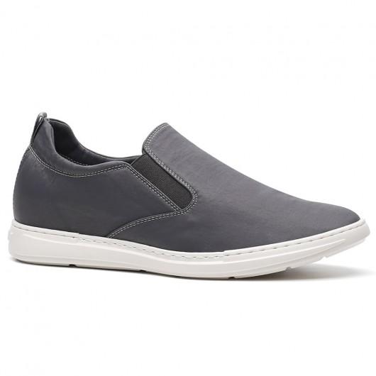 Chamaripa Slip-On Höhe zunehmende Schuh grau lässig große Männer Schuhe versteckte Fersen Schuhe für Männer 6CM